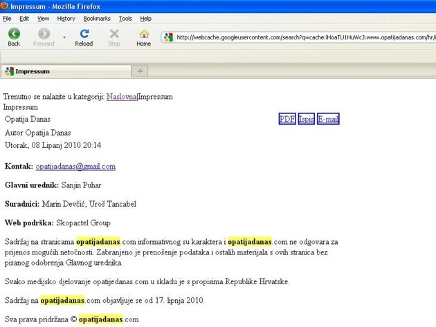 Liburnija.net: Screenshot 'ostataka portala' na adresi www.opatijadanas.com