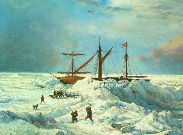 Liburnija.net: Ilustracija posade i jedrenjaka Admiral Tegetthoff okovanog ledom...