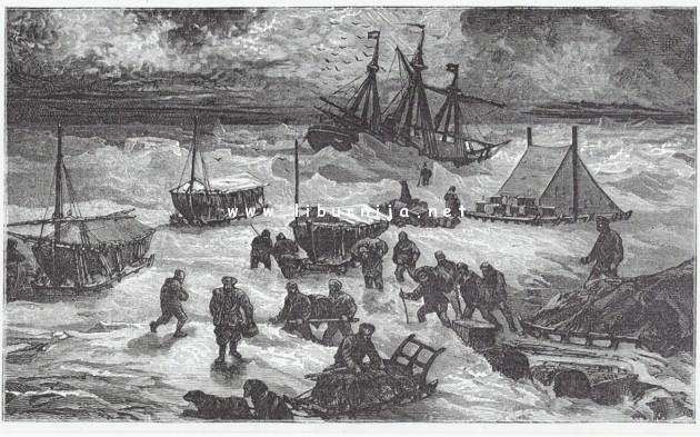 Liburnija.net: Ilustracija priprema za napuštanje jedrenjaka i proboj prema moru...miral Tegetthoff okovanog ledom...