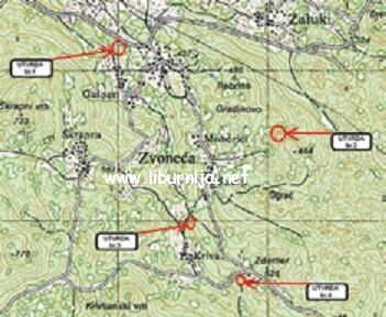 Karta s označenim bunkerima u okolici Zvoneće