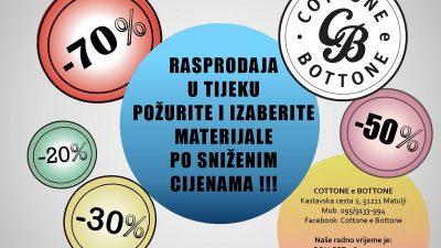PROMO Trgovina Cottone e Bottone počela s rasprodajom većeg dijela asortimana zbog promjene poslovanja @ Matulji