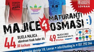 Tiskara Buldog Lovran ima promotivnu akciju majica s tiskom za maturante i osmaše