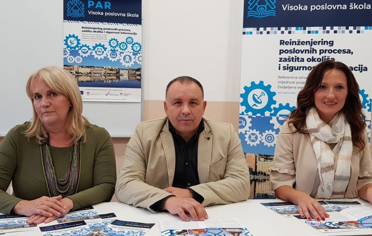 Visoka poslovna škola PAR uspješno završila europski projekt Reinženjering poslovnih procesa, zaštita okoliša i sigurnost informacija