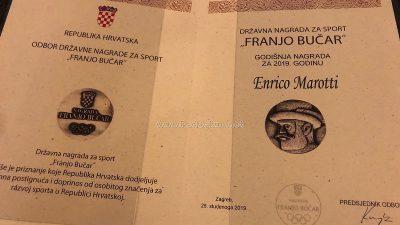Enrico Marotti primio Državnu nagradu za sport 'Franjo Bučar' u 2019. godini @ Zagreb