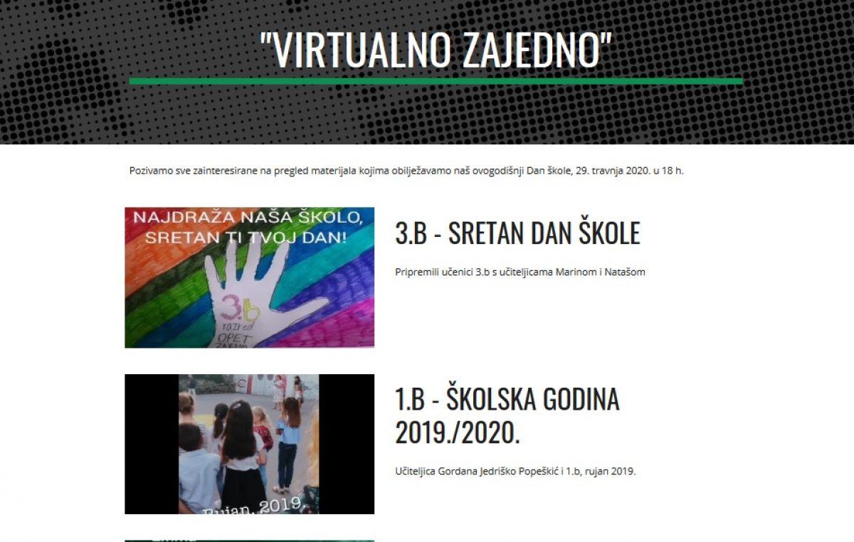 VIDEO 'Virtualno zajedno' – Zanimljivim i kreativnim video uradcima učenici i profesori obilježili Dan škole