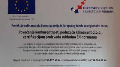 Povećanje konkurentnosti poduzeća Klimavent d.o.o. certifikacijom proizvoda sukladno EN normama