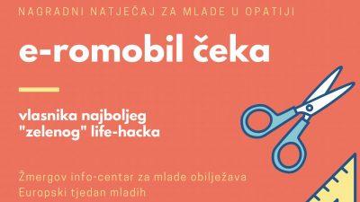 "Osvojite e-romobil: U sklopu obilježavanja Europskog tjedna mladih, Žmergo organizirao nagradni natječaj ""Zeleni"" life-hack"